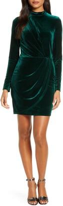 Black Halo Bariar Velvet Long Sleeve Minidress