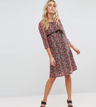 b1032b1011288 Licious Mamalicious lace shift mini dress in burgundy