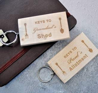 Sweet Pea Design Personalised Wooden Shed Keyring