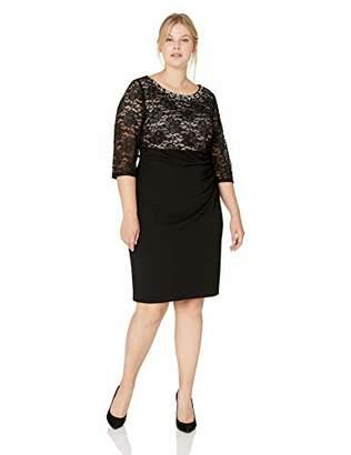 Jessica Howard Plus Size Womens Beaded Neck Empire Waist Side Tucked Sheath Dress