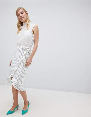 Oasis midi skirt with paperbag waist in stripe