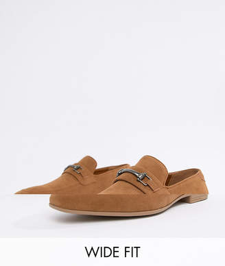 846f38c94dd Asos Design DESIGN Wide Fit loafers in tan faux suede with snaffle detail
