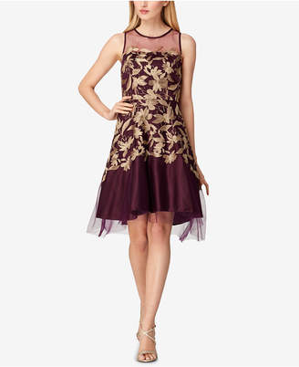 Tahari ASL Metallic-Embroidered Mesh Fit & Flare Dress
