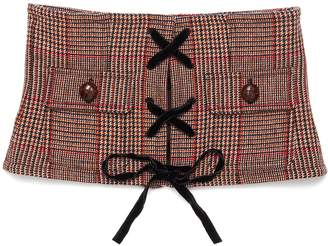Miu Miu Lace-up front houndstooth check plaid bustier
