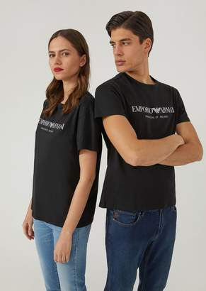 Emporio Armani Cotton Jersey Unisex T-Shirt With Printed Design