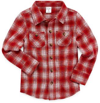 Okie Dokie Boys Sleeveless Flannel Shirt-Toddler