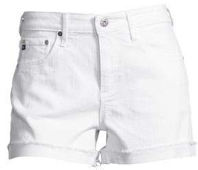 AG Jeans Women's Hailey Slouchy Cuffed Denim Shorts - White - Size 24 (0)