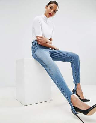 Asos Design AUTHENTIC Rigid Mom Jeans in Mid Wash with Stirrup Hem