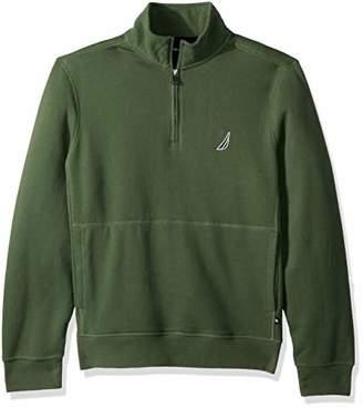 Nautica Men's Long Sleeve Half Zip Mock Neck Sueded Fleece Sweatshirt