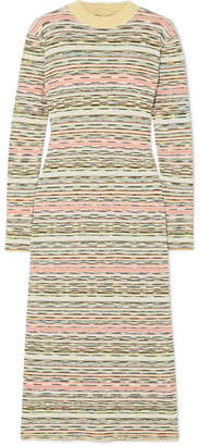 Missoni Striped Ribbed Wool Midi Dress - Green