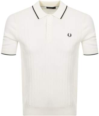 Fred Perry Short Sleeved Knit Polo T Shirt Cream