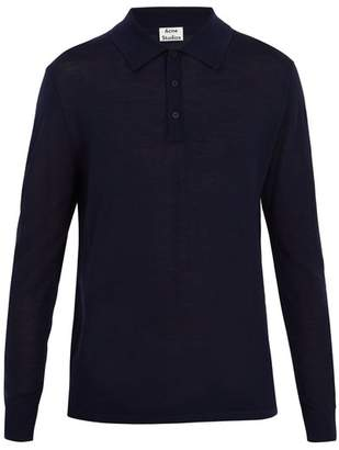 Acne Studios Nadir Point Collar Wool Polo Shirt - Mens - Navy
