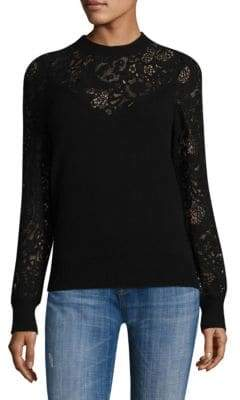 Rebecca Taylor Wool Lace Mixed Pullover