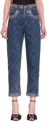 Jeans Denim Di Cotone Con Cristalli