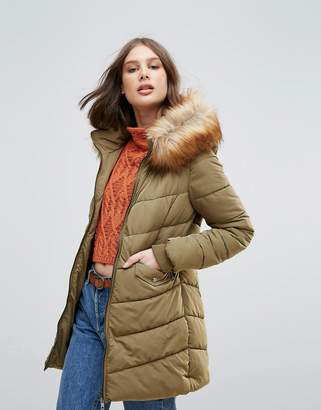 Only Sanna Long Quilted Coat With Faux Fur Trim
