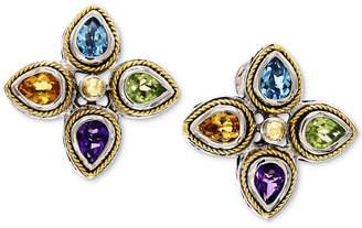 Effy Multi-Gemstone Stud Earrings (2-1/2 ct. t.w.) in Sterling Silver & 18k Gold
