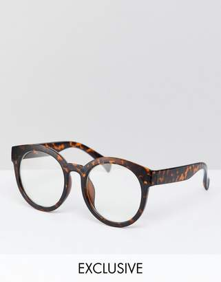 Reclaimed Vintage Inspired Round Clear Lens Glasses In Tort Exclusive To ASOS