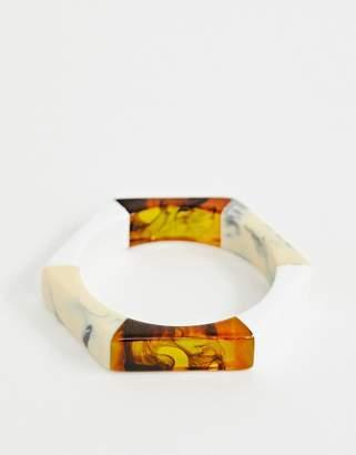 Asos DESIGN bangle bracelet in mixed resin and hexagon design