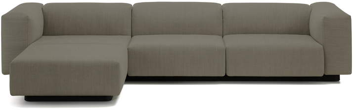 Soft Modular Sofa, 3-Sitzer mit Chaiselongue links, warmgrey (Laser 05)