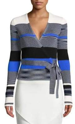 Diane von Furstenberg Striped Cropped Wrap Sweater