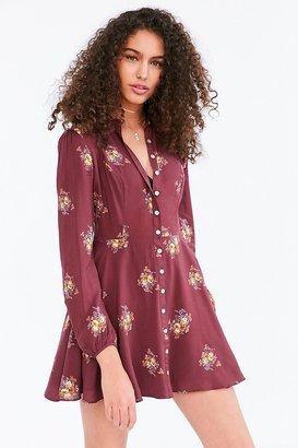 Kimchi Blue Sabrina Floral Long-Sleeve Mini Shirt Dress $69 thestylecure.com