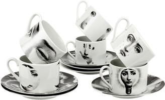 Fornasetti Tema e Variazioni 2005 Set of 6 Teacups - Black/White