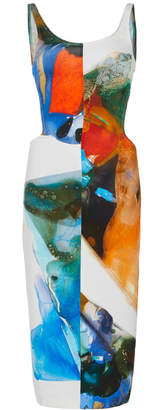 Thierry Mugler Printed Stretch Crepe Print Tank Dress