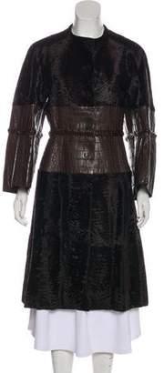 Neiman Marcus Broadtail & Alligator Long Coat