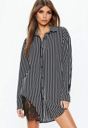 Missguided Black Lace Trim Striped Dress