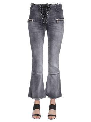 Taverniti So Ben Unravel Project Laceup Flare Cropped Jeans