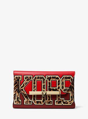 Michael Kors Bekah Large Kors Calf Hair And Leather Envelope Clutch