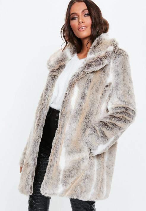 Shawl Collar Coat Chinchilla Faux Fur, Nude