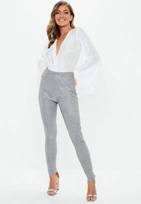 Missguided Silver Metallic Sparkle Leggings