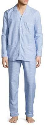 Neiman Marcus Dot-Print Cotton Pajama Set, Blue $175 thestylecure.com