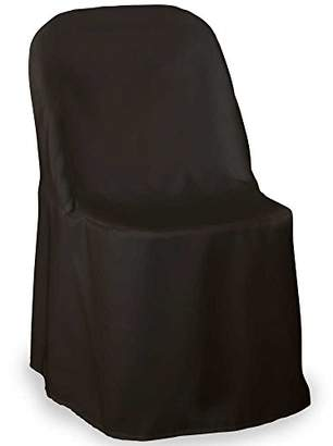 Lann's Linens - 10 Elegant Wedding/Party Folding Chair Covers - Polyester Cloth - Black