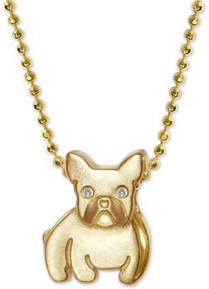 "Alex Woo Diamond Accent Bulldog 16"" Pendant Necklace in 14k Gold"