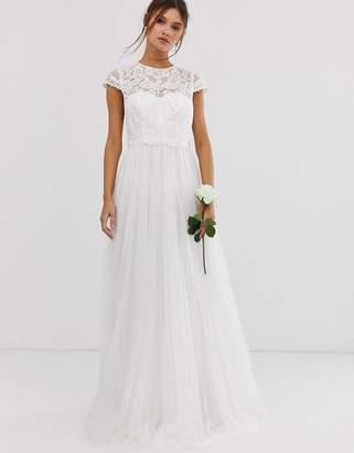 Asos Edition EDITION embroidered bodice wedding dress with mesh skirt