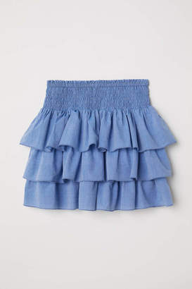 H&M Tiered Skirt with Smocking - Blue - Kids