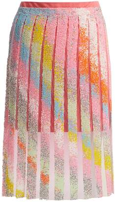 GERMANIER Bead-embellished tulle and jersey mini skirt