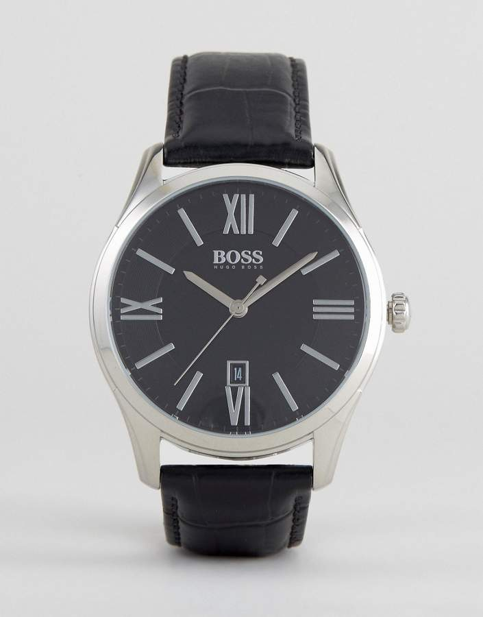 hugo boss watches for men shopstyle hugo boss boss by 1513022 ambassador leather watch in black