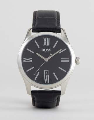 Boss By 1513022 Ambassador Leather Watch In Black