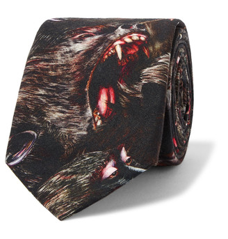 Givenchy 7cm Monkey Brothers Printed Cotton Tie $195 thestylecure.com