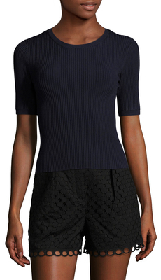 CarvenRibbed Crewneck Sweater