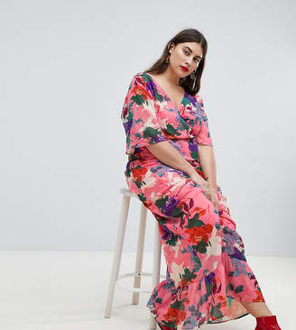 Lost Ink Plus Maxi Kimono Sleeve Maxi Dress In Oversized Floral Print