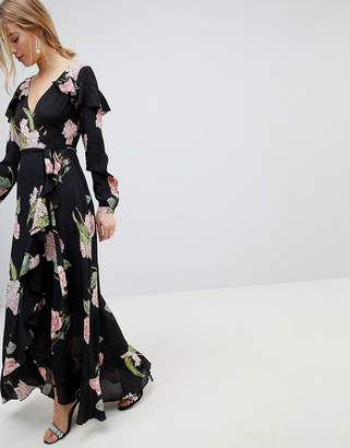 Asos Design Pretty Floral Maxi Ruffle Wrap Dress