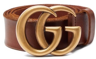 Gucci Gg Textured Leather Belt - Mens - Brown