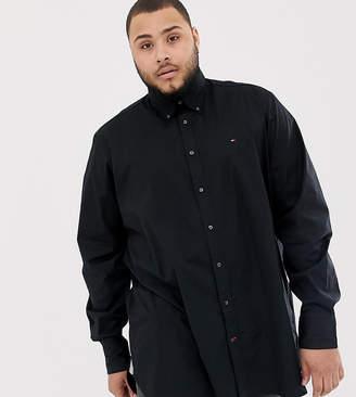 Tommy Hilfiger Big & Tall icon logo stretch poplin shirt regular fit in black