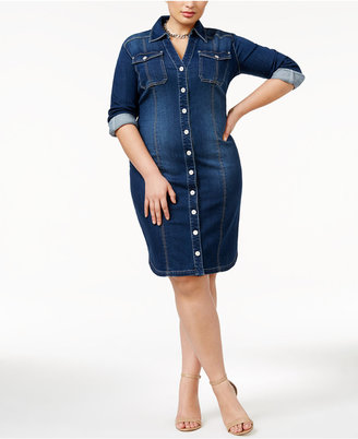INC International Concepts Plus Size Fitted Denim Shirtdress, Only at Macy's $109.50 thestylecure.com