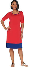 Factory Quacker Color-Blocked Knit Dress withGrommets