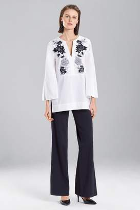 Josie Natori Cotton Poplin Embroidered Tunic Top